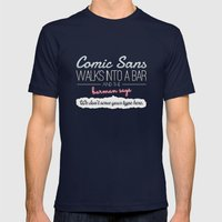 Poor Comic Sans Mens Fitted Tee Navy SMALL