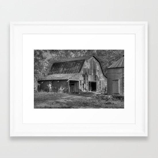 Old Barn in Black and White Framed Art Print