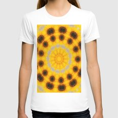 Sunflower and Bee Abstract Womens Fitted Tee White SMALL