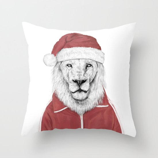 Santa lion Throw Pillow