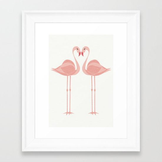 Lovebirds - Flamingo - Valentines Day - Tropical birds - Lovers Framed Art Print