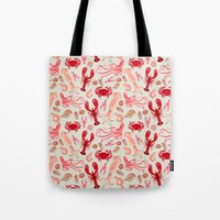 Crustaceans sea life illustration by Andrea Lauren  Tote Bag