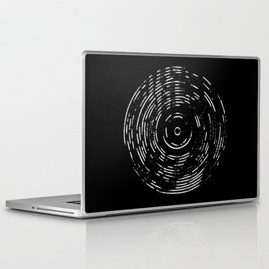 Record White on Black Laptop & iPad Skin