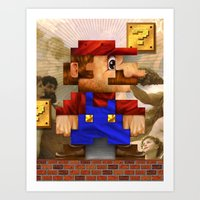 Super Mario Pixelated Re… Art Print