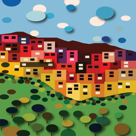 Houses On The Hill Art Print