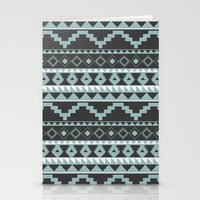 Aztec Pattern 2 Gray & Teal Stationery Cards