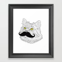 Meowstache Framed Art Print