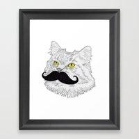 Meowstache Framed Art Print