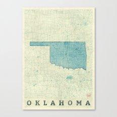 Oklahoma State Map Blue Vintage Canvas Print