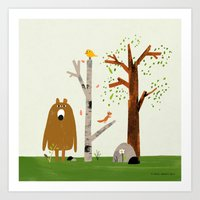 Bear, Bird and Squirrel in the Woods Art Print