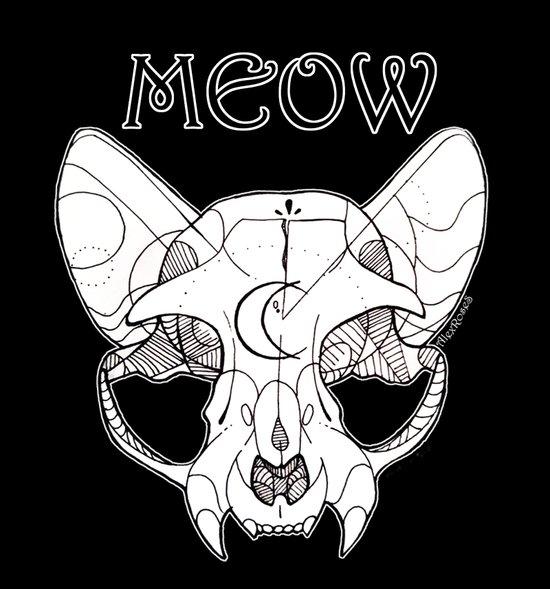 Skull Kitty Art Print