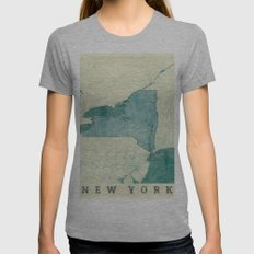 New York State Map Blue Vintage Womens Fitted Tee Athletic Grey SMALL