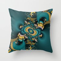 teal and yellow fractal  Throw Pillow