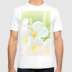 White Plumeria 2 White SMALL Mens Fitted Tee