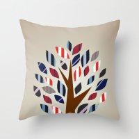 Striped Tree - Digital Work Throw Pillow