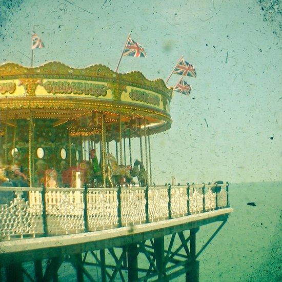 Carousel by the Sea Art Print