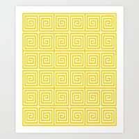 Acropolis 1 Yellow Art Print
