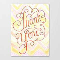 Thank you - hand lettered on chevron Canvas Print