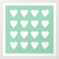 16 Hearts Mint Art Print
