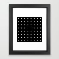 White Plus on Black /// www.pencilmeinstationery.com Framed Art Print