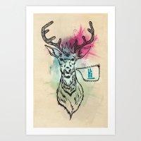 Party Hat Deer Art Print
