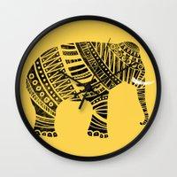 Endangered elephant - yellow Wall Clock