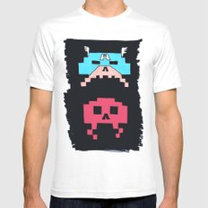 Captain America  & Red Skull space invaders Mens Fitted Tee White SMALL