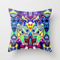 Abstract Pop Art Faces Throw Pillow