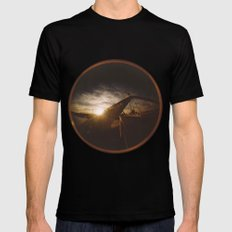 Golden sunset, bridge and birds Mens Fitted Tee Black SMALL