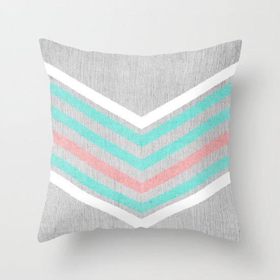 Teal Pink And White Chevron On Silver Grey Wood Throw