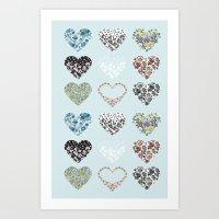 Vintage Hearts  Art Print