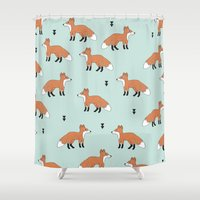 Cute fall woodland smiling foxes illustration pattern Shower Curtain