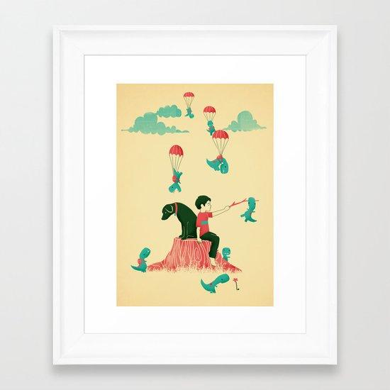 Tiny T-Rex Invasion Framed Art Print