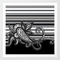 Paisley Stripe: Black Art Print