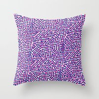 Fluo Pinkblue Throw Pillow