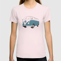 VW Camper Van Womens Fitted Tee Light Pink SMALL
