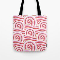 Red Auspicious Waves  Tote Bag
