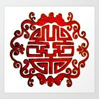 Chinese Stamp Art Print