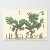 The Night Gardener - Dragon Topiary  Canvas Print