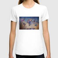 Stars world map. Blue Womens Fitted Tee White SMALL