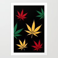 Rasta color leaves Art Print