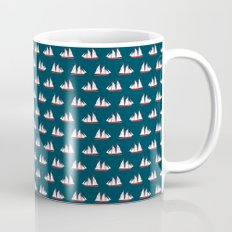 Sailing ships on navy pattern Mug