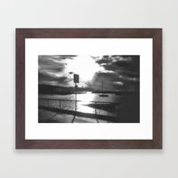 Morning Awakes The Harbo… Framed Art Print