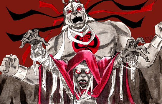 """Ancient spirits of evil, transform this decayed form to Mumm-Ra, the Ever-Living!"" Canvas Print"