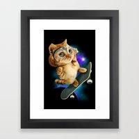 SKATEBOARD CAT Framed Art Print