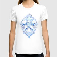 Blue Watercolor Dots Womens Fitted Tee White SMALL