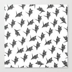 Paper Crane Bird Origami Doodle Pattern Canvas Print