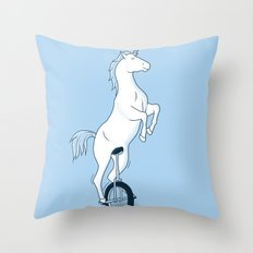 Unicorn on a unicycle - blue Throw Pillow