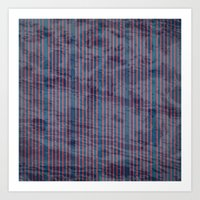 Red stripes on blue grungy textured background Art Print