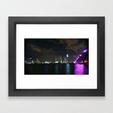 Miami night skyline Framed Art Print